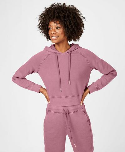 Gary Cropped Hooded Jumper, Heather Rose Pink | Sweaty Betty