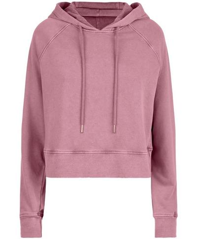 Gary Cropped Hooded Sweatshirt, Heather Rose Pink | Sweaty Betty