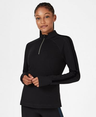 Thermodynamic Half Zip Running Top, Black | Sweaty Betty