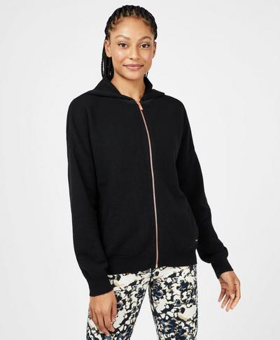 Fulham Cashmere Blend Hoody, Black | Sweaty Betty