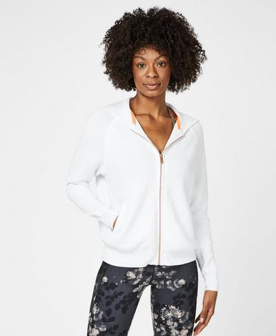 Fulham Cashmere Blend Hoody, White | Sweaty Betty