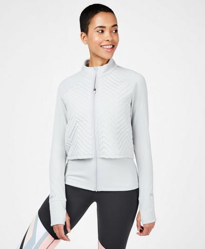 Fast Track Thermal Running Jacket, Light Grey | Sweaty Betty