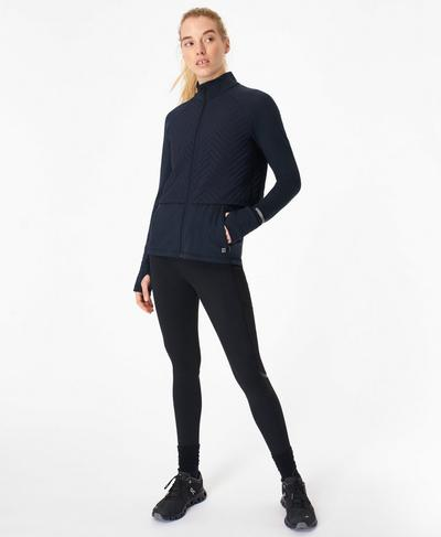 Fast Track Thermal Running Jacket, Navy Blue | Sweaty Betty