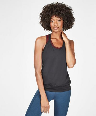 Strappy Banded Hem Workout Tank, Black | Sweaty Betty