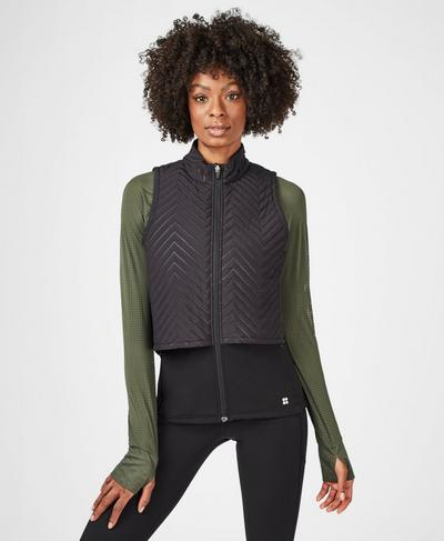 Fast Track Thermal Running Gilet, Black | Sweaty Betty