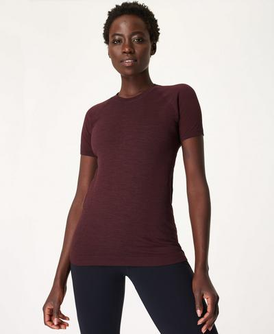 Athlete Seamless Gym T-shirt, Black Cherry | Sweaty Betty