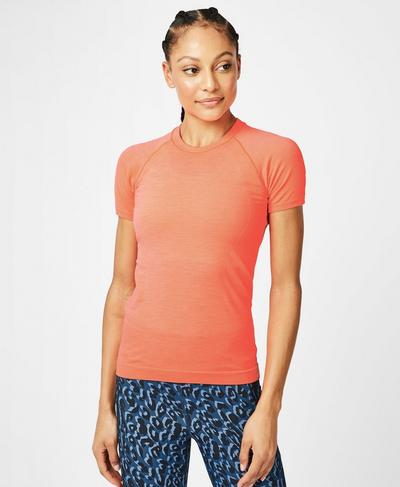 Athlete Seamless Workout Tee, Fluro Flash Pink | Sweaty Betty