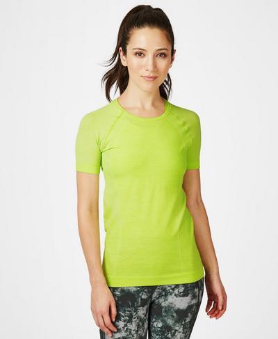 Athlete Seamless Workout T-shirt, Lime Punch Green   Sweaty Betty