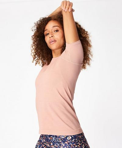 Athlete Seamless Workout T-shirt, Misty Rose Pink | Sweaty Betty