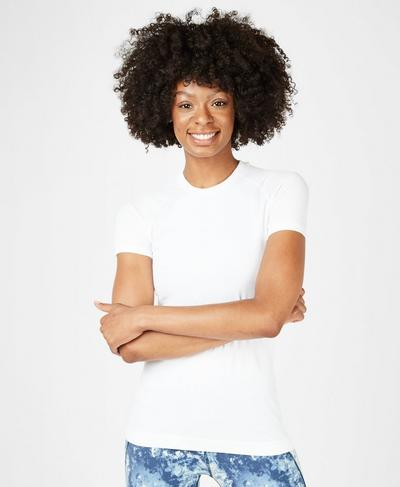 Athlete Seamless Workout Tee, White | Sweaty Betty