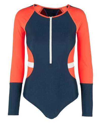 Misty Long Sleeve Swimsuit, Beetle Blue | Sweaty Betty