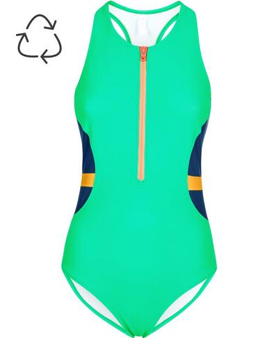 Wave Zip Thru Swimsuit, Lime Gello Green | Sweaty Betty
