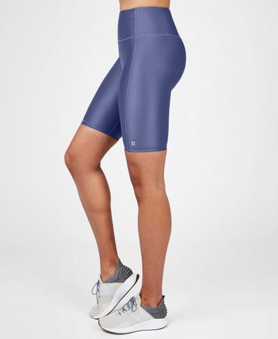 "High Shine High Waisted 9"" Biker Shorts, Crown Blue 