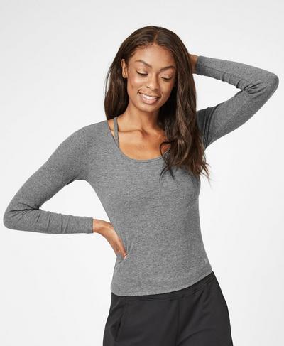 Tadasana Ribbed Yoga Top, Charcoal Marl | Sweaty Betty