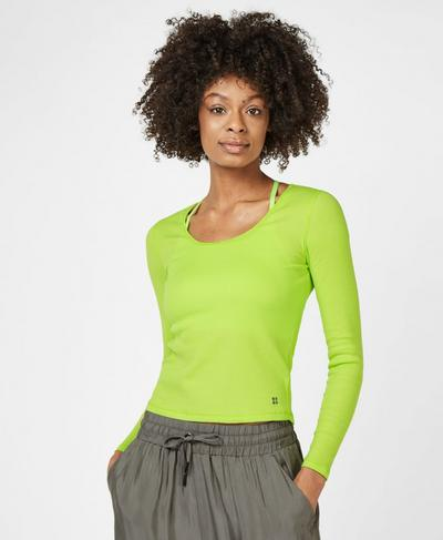 Tadasana Ribbed Yoga Top, Green Alert | Sweaty Betty