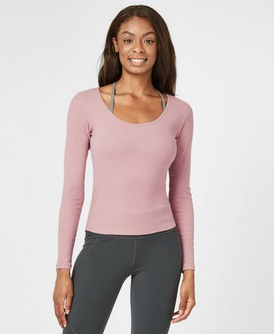 Tadasana Ribbed Yoga Top, Velvet Rose Pink | Sweaty Betty