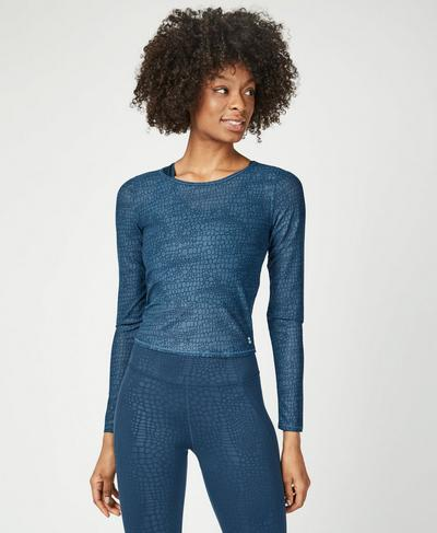 Momentum Gym Long Sleeve Top, Beetle Blue Croc Print | Sweaty Betty
