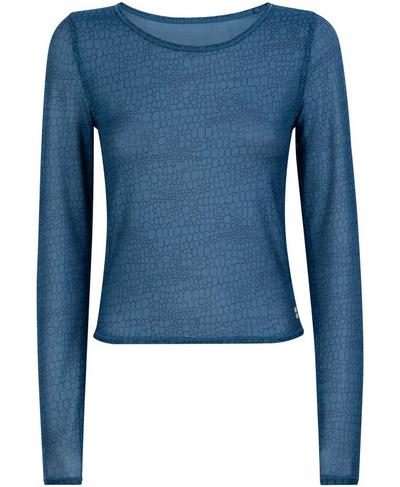 Momentum Workout Long Sleeve Top, Beetle Blue Croc Print | Sweaty Betty
