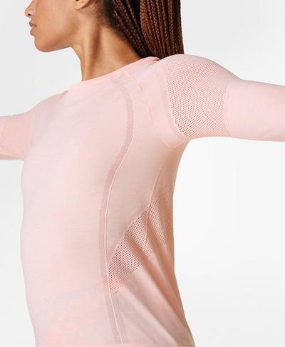 Dynamic Seamless Yoga Top , Antique Pink   Sweaty Betty