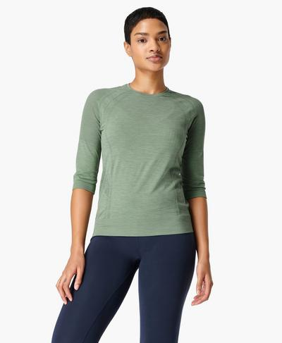 Dynamic Seamless Yoga Top, Heath Green | Sweaty Betty