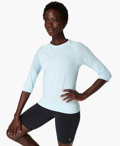 Dynamic Seamless Yoga Top, Ice Blue | Sweaty Betty