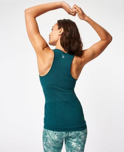 Athlete Seamless Gym Vest, June Bug Green | Sweaty Betty