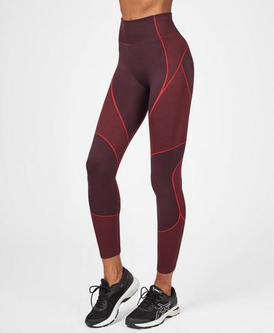 Speedy Seamless 7/8 Running Leggings, Black Cherry Tulip Red | Sweaty Betty