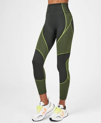 Speedy Seamless 7/8 Running Leggings, Dark Forest Lime | Sweaty Betty