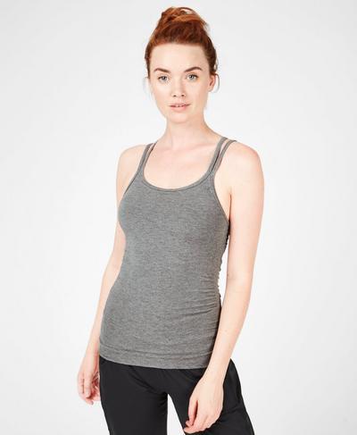 Namaska Yoga Tank, Charcoal Marl | Sweaty Betty
