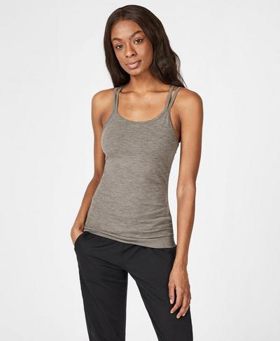 Namaska Yoga Tank, Dark Taupe | Sweaty Betty