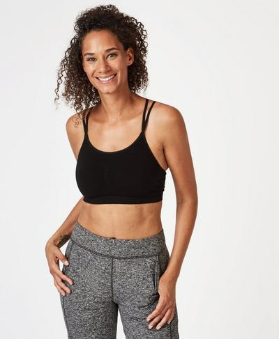 Strappy Back Seamless Bra, Black | Sweaty Betty