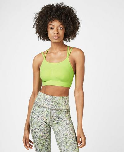 Brahma Padded Yoga Bra, Green Alert | Sweaty Betty