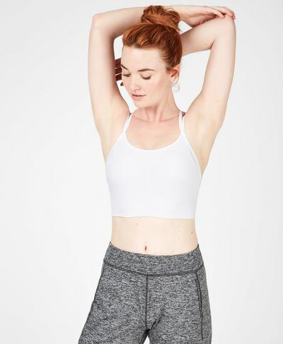 Brahma Padded Yoga Bra, White | Sweaty Betty