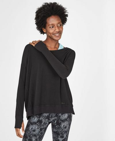 Simhasana Luxe Fleece Sweatshirt, Black | Sweaty Betty