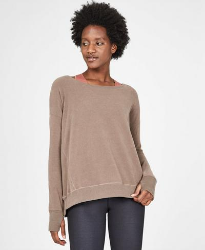 Simhasana Luxe Sweatshirt, Dark Taupe | Sweaty Betty