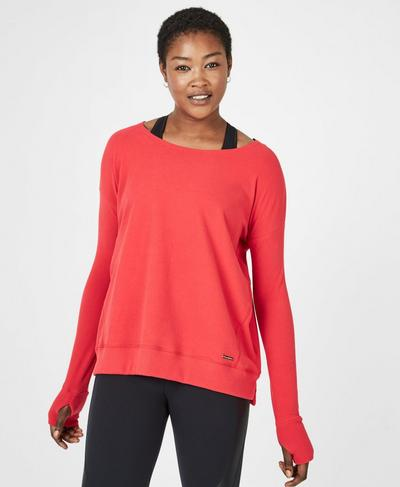 Simhasana Luxe Sweatshirt, Tulip Red | Sweaty Betty