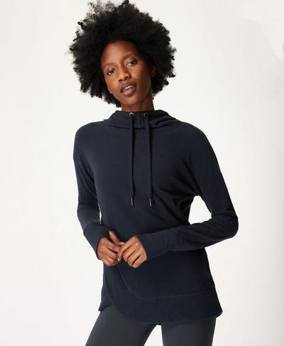 Escape Luxe Fleece Hoodie, Beetle Blue | Sweaty Betty