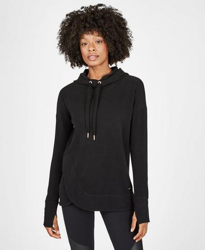 Escape Luxe Fleece Hoody, Black | Sweaty Betty