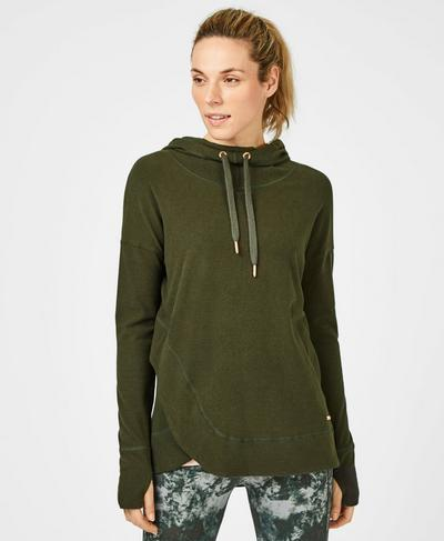 Escape Luxe Fleece Hoodie, Dark Forest Green | Sweaty Betty
