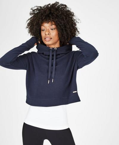 Escape Luxe Fleece Cropped Hoodie, Beetle Blue | Sweaty Betty