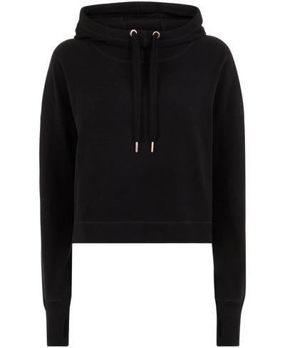 Escape Luxe Fleece Cropped Hoodie, Black | Sweaty Betty