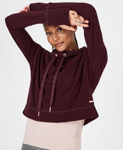 Escape Luxe Fleece Cropped Hoody, Black Cherry | Sweaty Betty