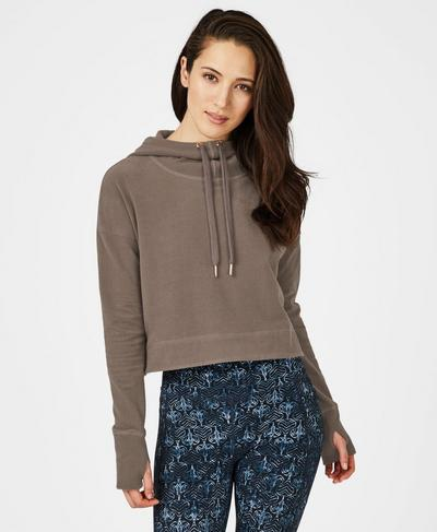 Escape Luxe Fleece Cropped Hoodie, Dark Taupe | Sweaty Betty