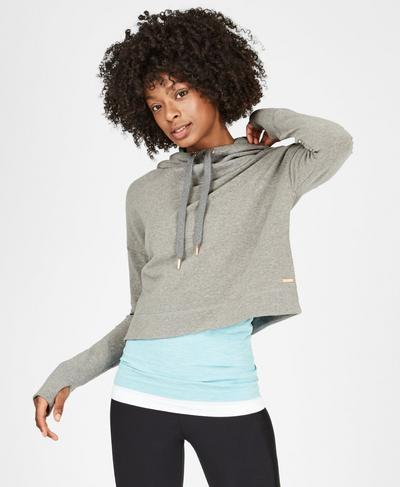 Escape Luxe Fleece Cropped Hoody, Light Grey Marl | Sweaty Betty