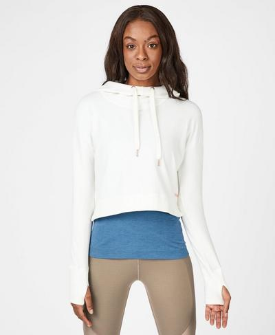Escape Luxe Fleece Cropped Hoodie, Lily White | Sweaty Betty