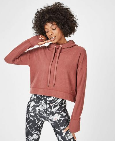 Escape Luxe Cropped Hoodie, RUST | Sweaty Betty