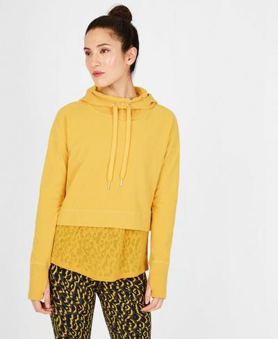 Escape Luxe Fleece Cropped Hoodie, Turmeric Yellow | Sweaty Betty