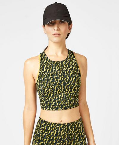 Flatter Me Workout Cropped Tank, Turmeric Yellow Leopard | Sweaty Betty
