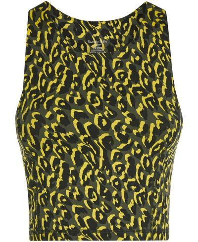Flatter Me Workout Cropped Vest, Turmeric Yellow Leopard | Sweaty Betty