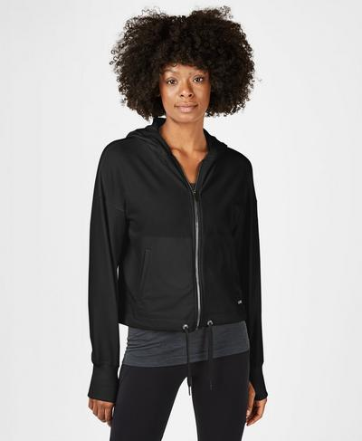 Sanctuary Luxe Zip Through Hoody, Black | Sweaty Betty